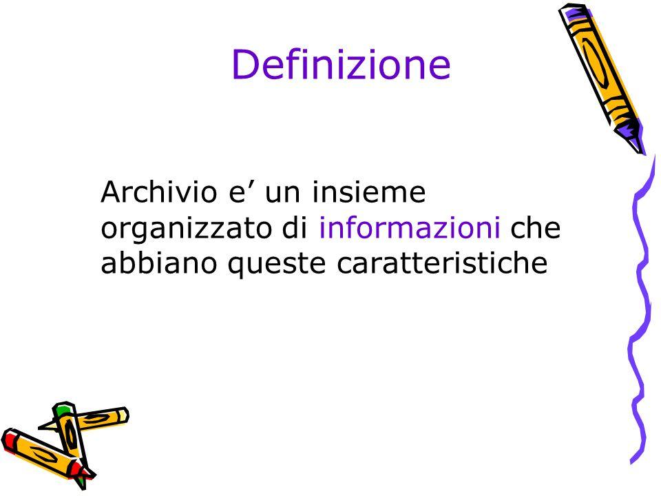 Definizione Archivio e un insieme organizzato di informazioni che abbiano queste caratteristiche