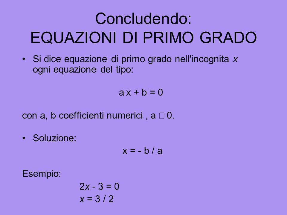 Conseguenza del secondo principio dequivalenza È possibile eliminare il coefficiente dellincognita 3x=2 Dividendo ambo i membri dellequazione per 3 x=
