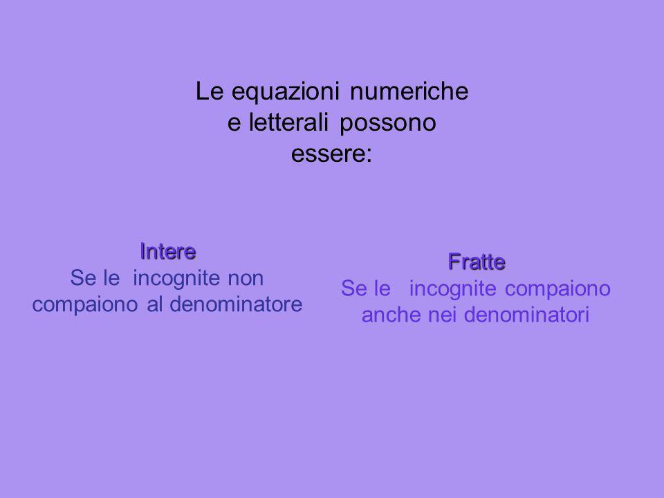 Classificazione Equazioni Razionali Le incognite non compaiono sotto un segno di radice Irrazionali Le incognite compaiono sotto un segno di radice Nu
