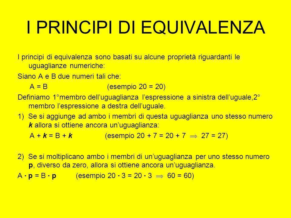 Per trovare leventuale soluzione dellequazione è opportuno semplificarne la forma senza modificarne il significato… Il primo ed il secondo principio d