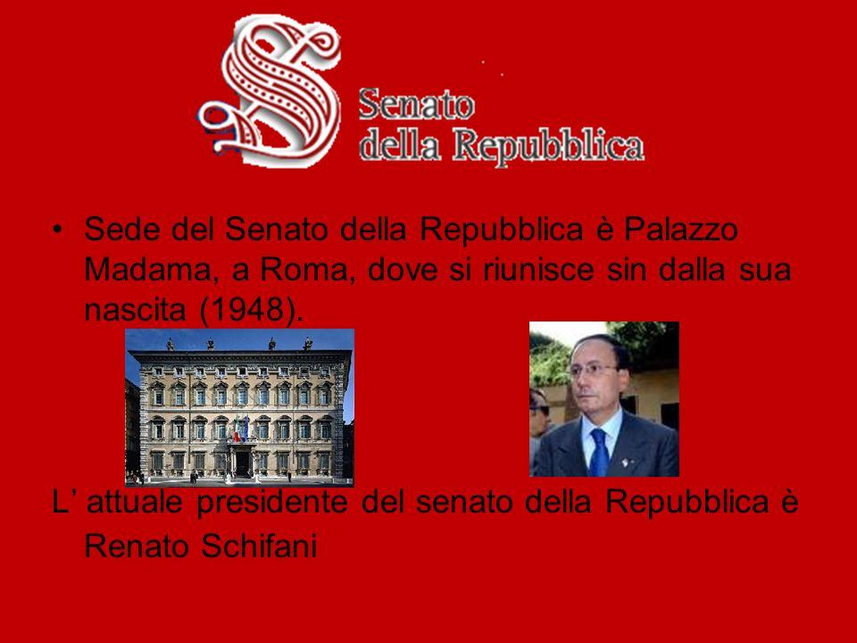 Sede del Senato della Repubblica è Palazzo Madama, a Roma, dove si riunisce sin dalla sua nascita (1948). L attuale presidente del senato della Repubb