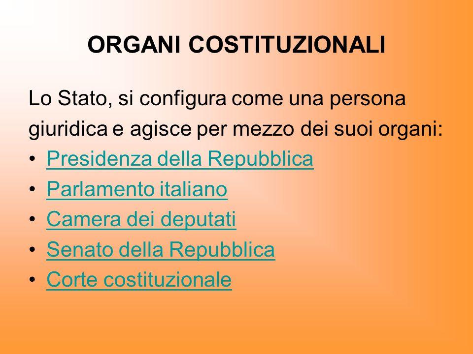 ORGANI COSTITUZIONALI Lo Stato, si configura come una persona giuridica e agisce per mezzo dei suoi organi: Presidenza della Repubblica Parlamento ita