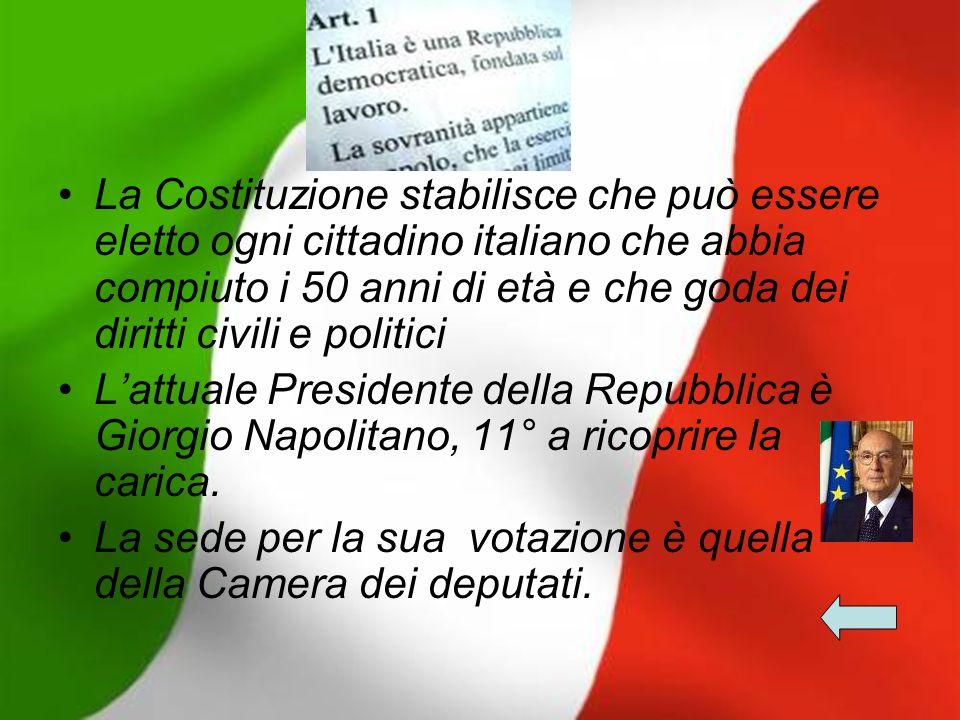 La Costituzione stabilisce che può essere eletto ogni cittadino italiano che abbia compiuto i 50 anni di età e che goda dei diritti civili e politici