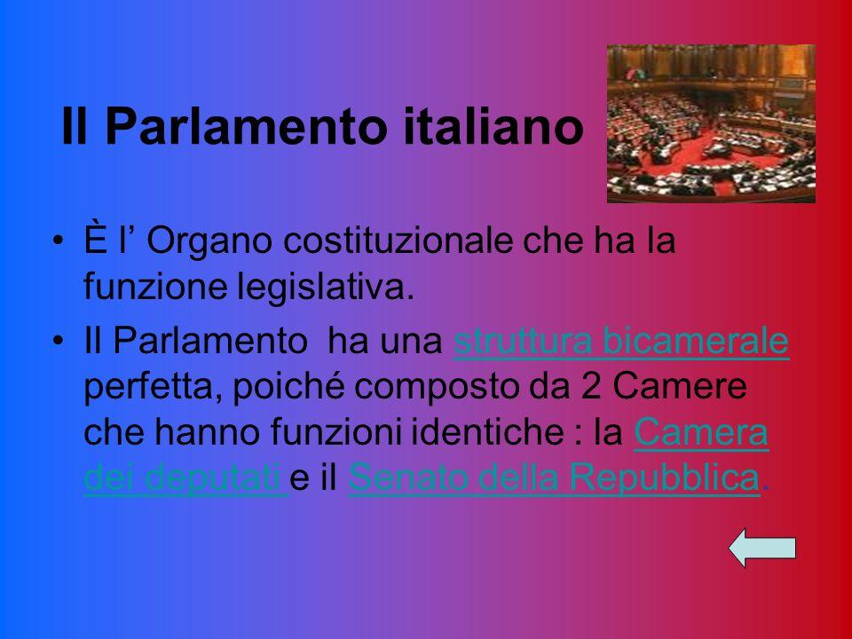 Il Parlamento italiano È l Organo costituzionale che ha la funzione legislativa. Il Parlamento ha una struttura bicamerale perfetta, poiché composto d