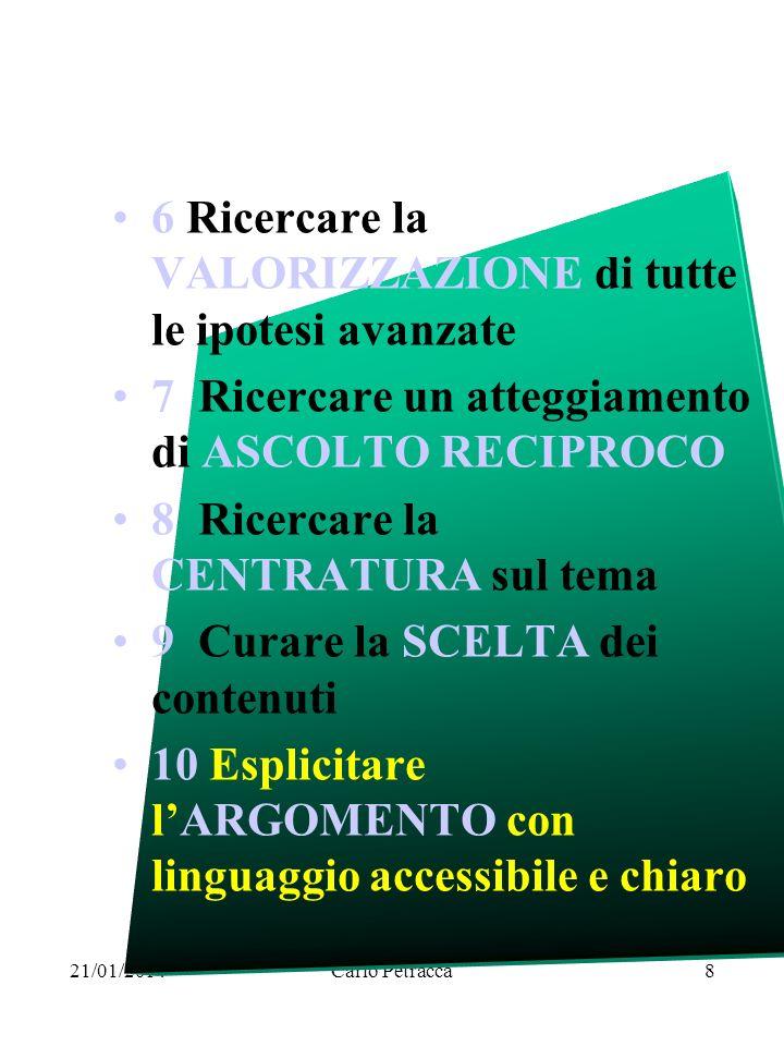 21/01/2014Carlo Petracca8 6 Ricercare la VALORIZZAZIONE di tutte le ipotesi avanzate 7 Ricercare un atteggiamento di ASCOLTO RECIPROCO 8 Ricercare la