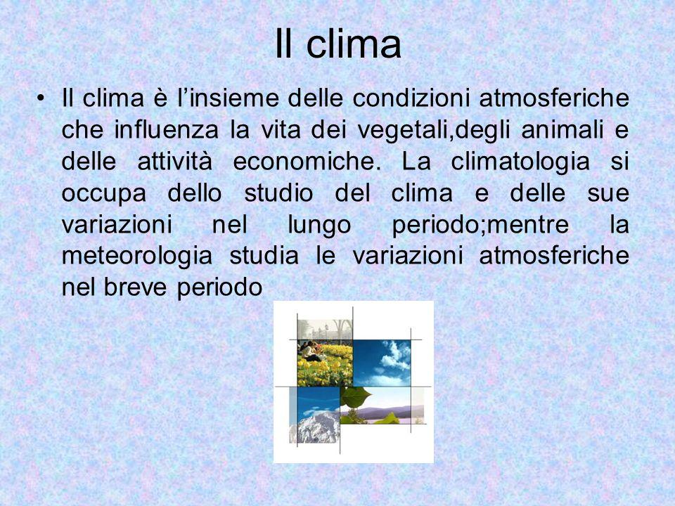 Il clima Il clima è linsieme delle condizioni atmosferiche che influenza la vita dei vegetali,degli animali e delle attività economiche. La climatolog
