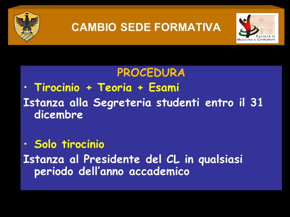 PROCEDURA Tirocinio + Teoria + Esami Istanza alla Segreteria studenti entro il 31 dicembre Solo tirocinio Istanza al Presidente del CL in qualsiasi pe