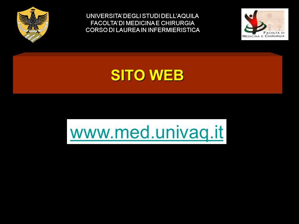SITO WEB UNIVERSITA DEGLI STUDI DELLAQUILA FACOLTA DI MEDICINA E CHIRURGIA CORSO DI LAUREA IN INFERMIERISTICA www.med.univaq.it
