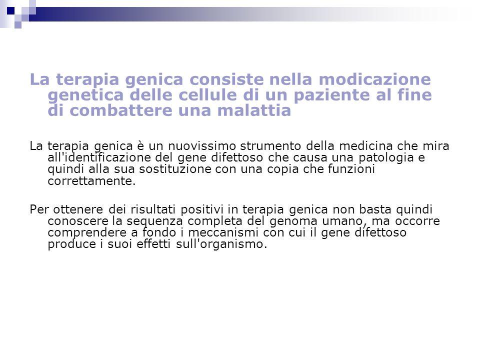 La terapia genica consiste nella modicazione genetica delle cellule di un paziente al fine di combattere una malattia La terapia genica è un nuovissim