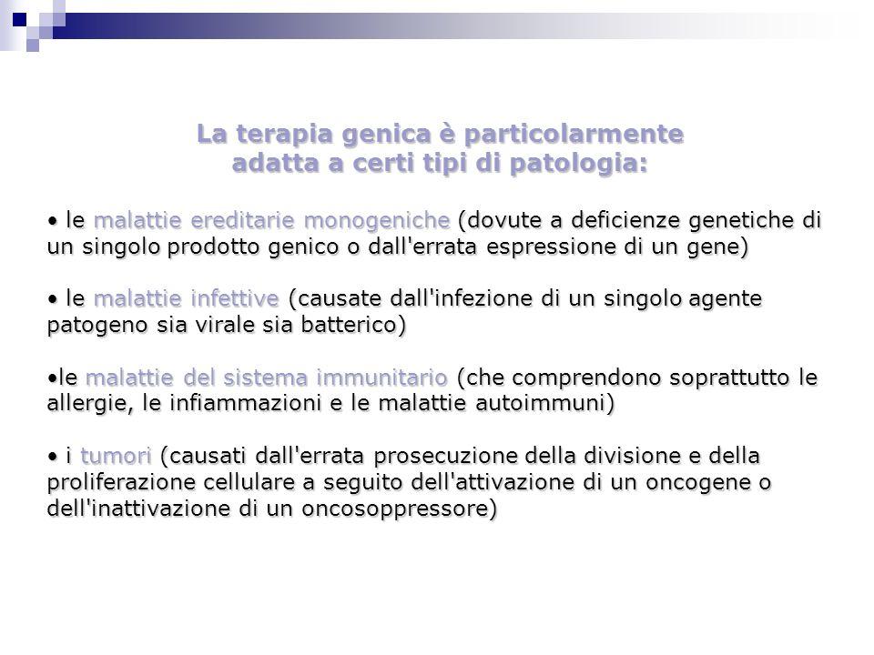 La terapia genica è particolarmente adatta a certi tipi di patologia: le malattie ereditarie monogeniche (dovute a deficienze genetiche di un singolo