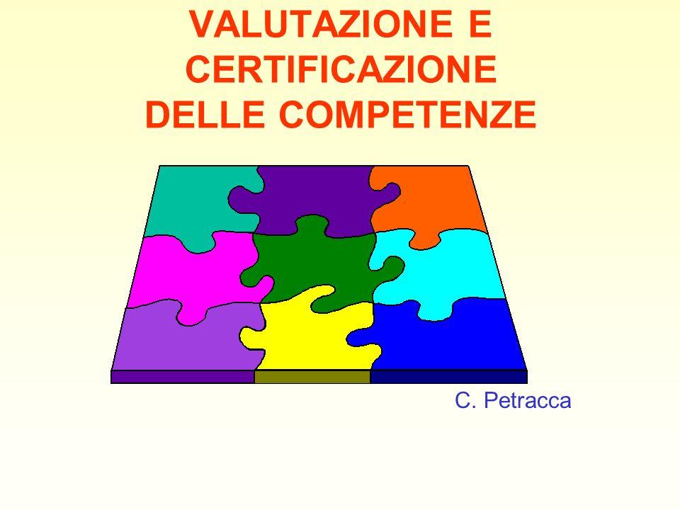 VALUTAZIONE E CERTIFICAZIONE DELLE COMPETENZE C. Petracca