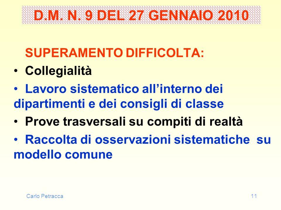 Carlo Petracca11 D.M. N. 9 DEL 27 GENNAIO 2010 SUPERAMENTO DIFFICOLTA: Collegialità Lavoro sistematico allinterno dei dipartimenti e dei consigli di c