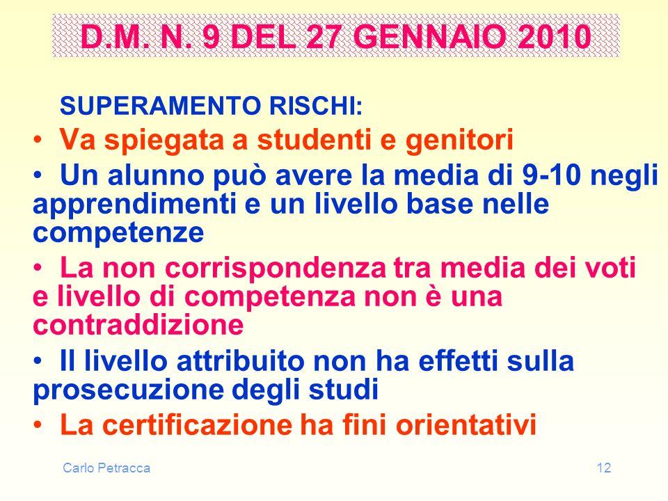 Carlo Petracca12 D.M. N. 9 DEL 27 GENNAIO 2010 SUPERAMENTO RISCHI: Va spiegata a studenti e genitori Un alunno può avere la media di 9-10 negli appren