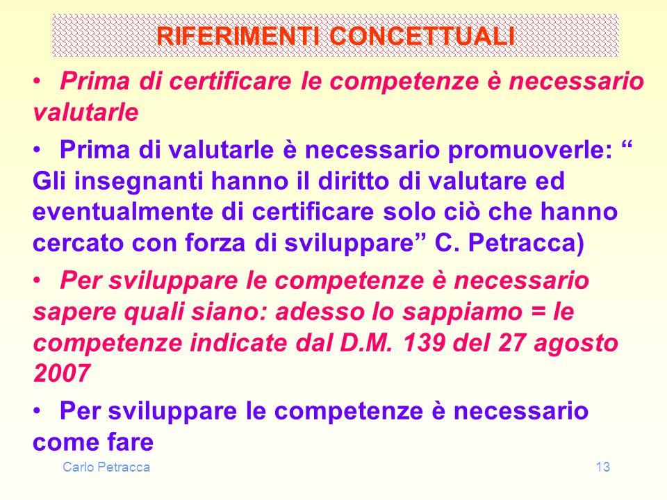 Carlo Petracca13 RIFERIMENTI CONCETTUALI Prima di certificare le competenze è necessario valutarle Prima di valutarle è necessario promuoverle: Gli in
