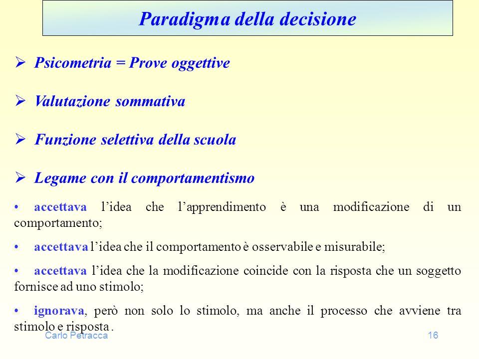 Carlo Petracca16 Paradigma della decisione Psicometria = Prove oggettive Valutazione sommativa Funzione selettiva della scuola Legame con il comportam