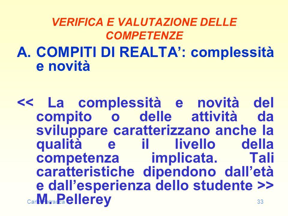 Carlo Petracca33 VERIFICA E VALUTAZIONE DELLE COMPETENZE A.COMPITI DI REALTA: complessità e novità > M. Pellerey
