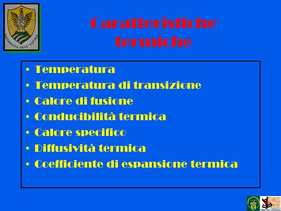 Temperatura Temperatura di transizione Calore di fusione Conducibilità termica Calore specifico Diffusività termica Coefficiente di espansione termica