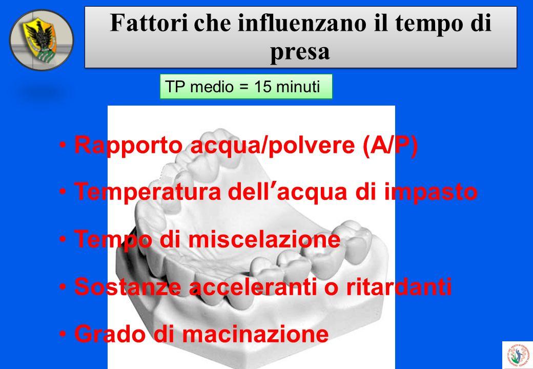 Fattori che influenzano il tempo di presa Rapporto acqua/polvere (A/P) Temperatura dellacqua di impasto Tempo di miscelazione Sostanze acceleranti o r
