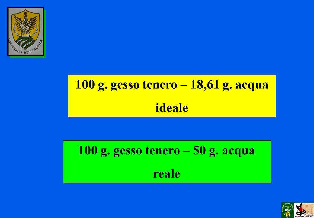 100 g. gesso tenero – 18,61 g. acqua ideale 100 g. gesso tenero – 50 g. acqua reale