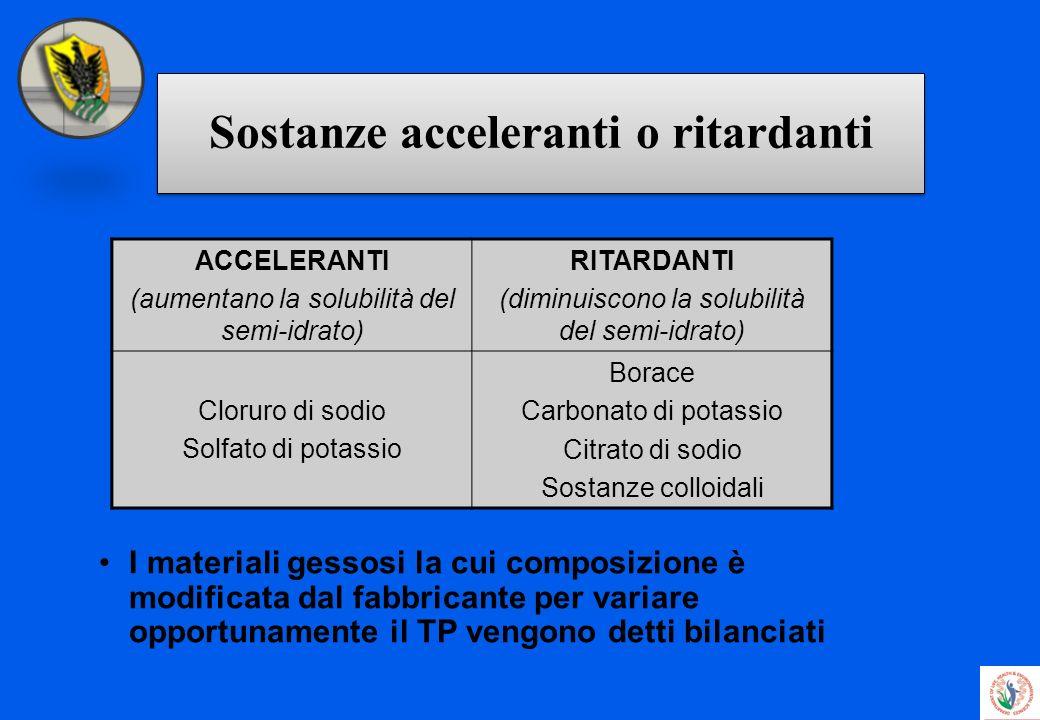 Sostanze acceleranti o ritardanti I materiali gessosi la cui composizione è modificata dal fabbricante per variare opportunamente il TP vengono detti