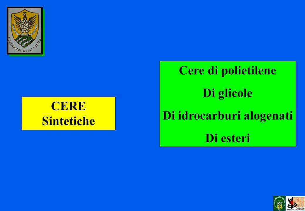 CERE Sintetiche Cere di polietilene Di glicole Di idrocarburi alogenati Di esteri