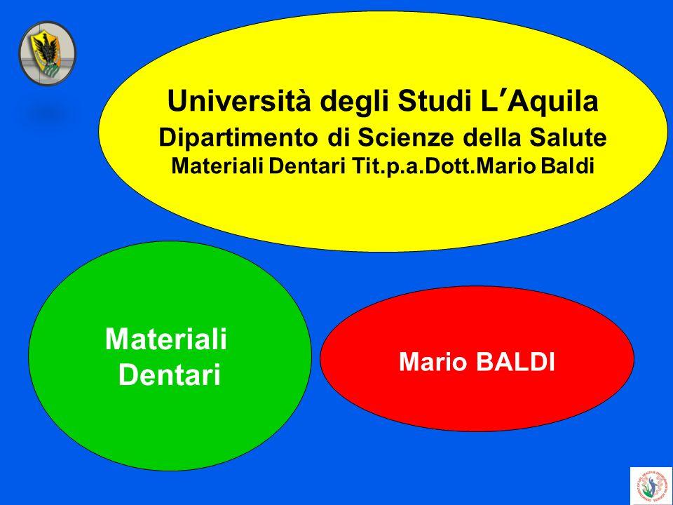 Università degli Studi LAquila Dipartimento di Scienze della Salute Materiali Dentari Tit.p.a.Dott.Mario Baldi Materiali Dentari Mario BALDI