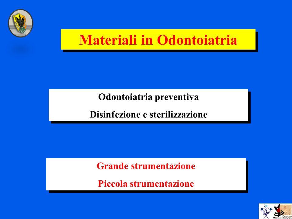 Odontoiatria preventiva Disinfezione e sterilizzazione Odontoiatria preventiva Disinfezione e sterilizzazione Materiali in Odontoiatria Grande strumen