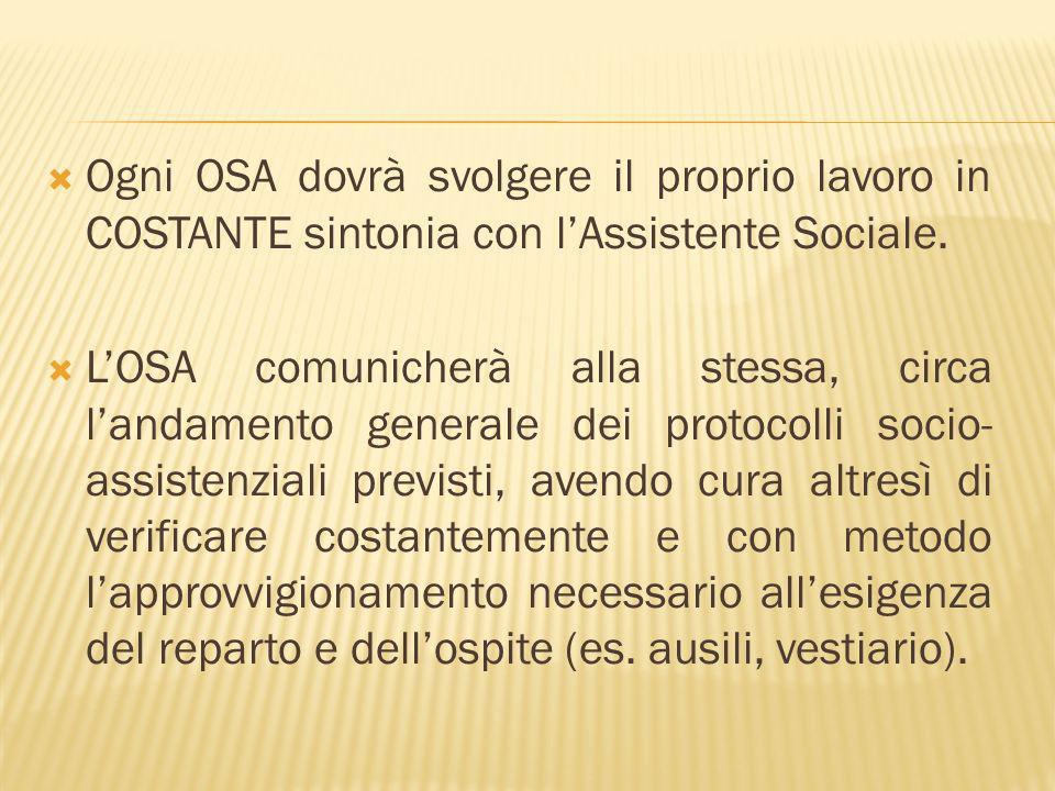 Ogni OSA dovrà svolgere il proprio lavoro in COSTANTE sintonia con lAssistente Sociale.