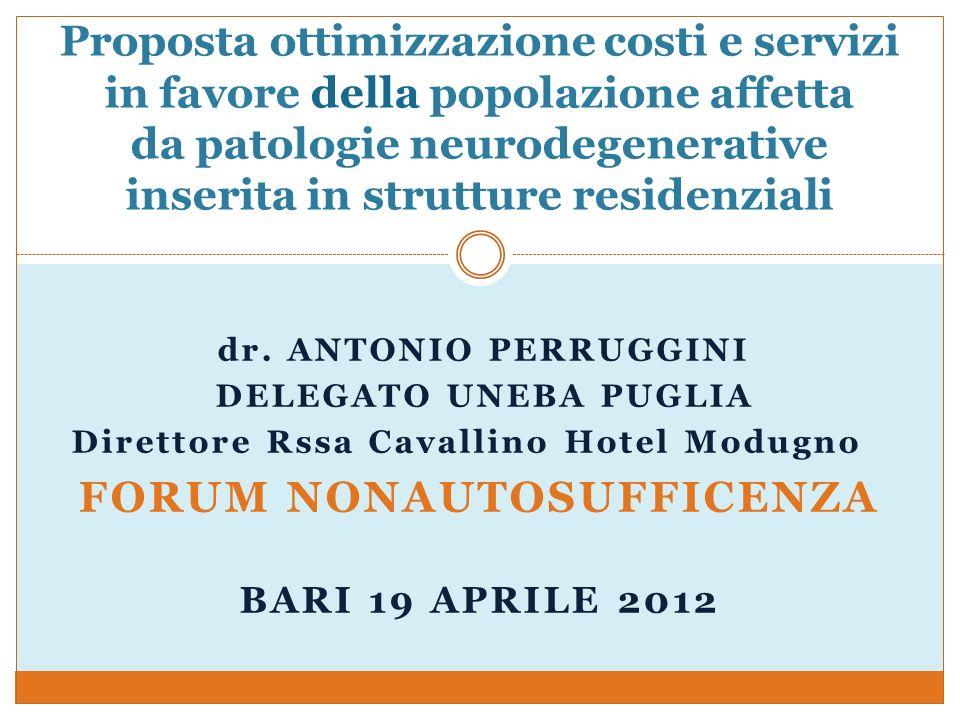 dr. ANTONIO PERRUGGINI DELEGATO UNEBA PUGLIA Direttore Rssa Cavallino Hotel Modugno FORUM NONAUTOSUFFICENZA BARI 19 APRILE 2012 Proposta ottimizzazion