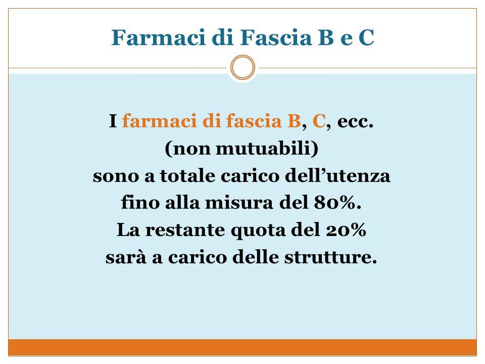 Farmaci di Fascia B e C I farmaci di fascia B, C, ecc. (non mutuabili) sono a totale carico dellutenza fino alla misura del 80%. La restante quota del