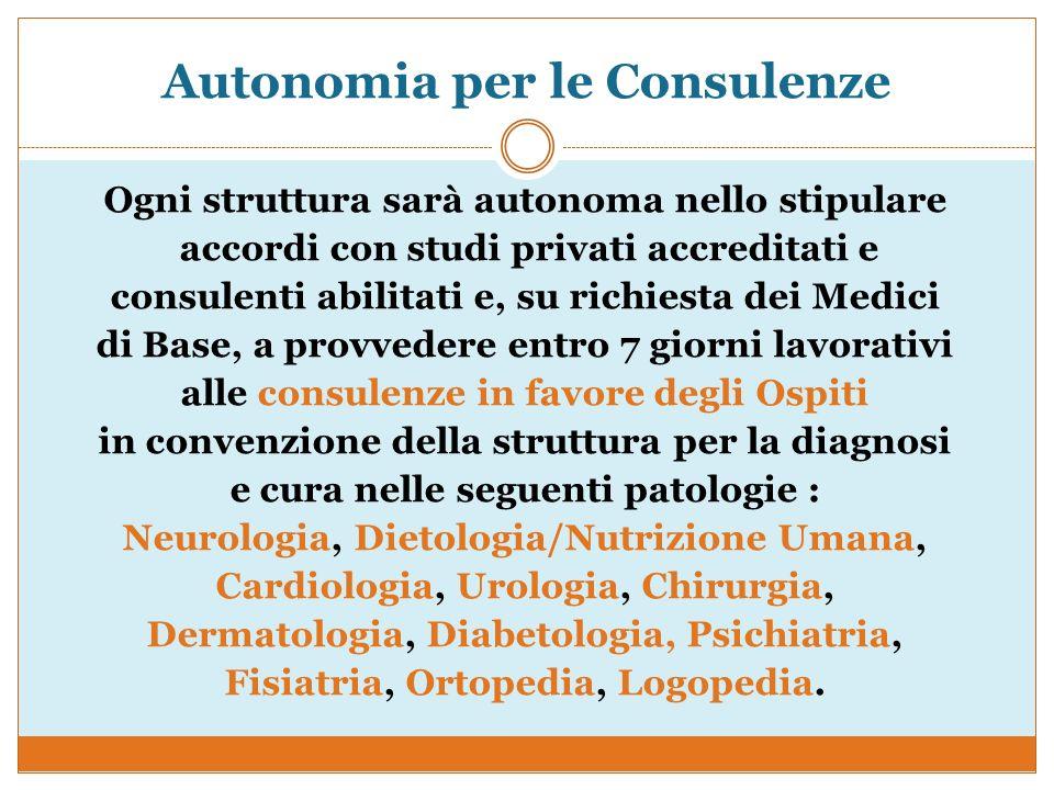 Autonomia per le Consulenze Ogni struttura sarà autonoma nello stipulare accordi con studi privati accreditati e consulenti abilitati e, su richiesta