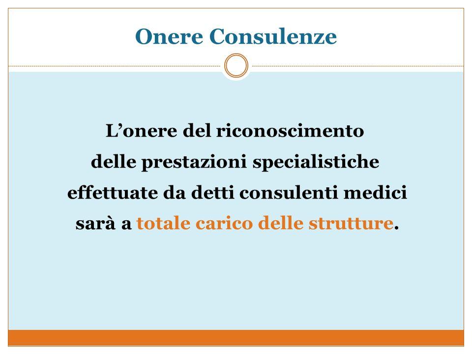 Onere Consulenze Lonere del riconoscimento delle prestazioni specialistiche effettuate da detti consulenti medici sarà a totale carico delle strutture