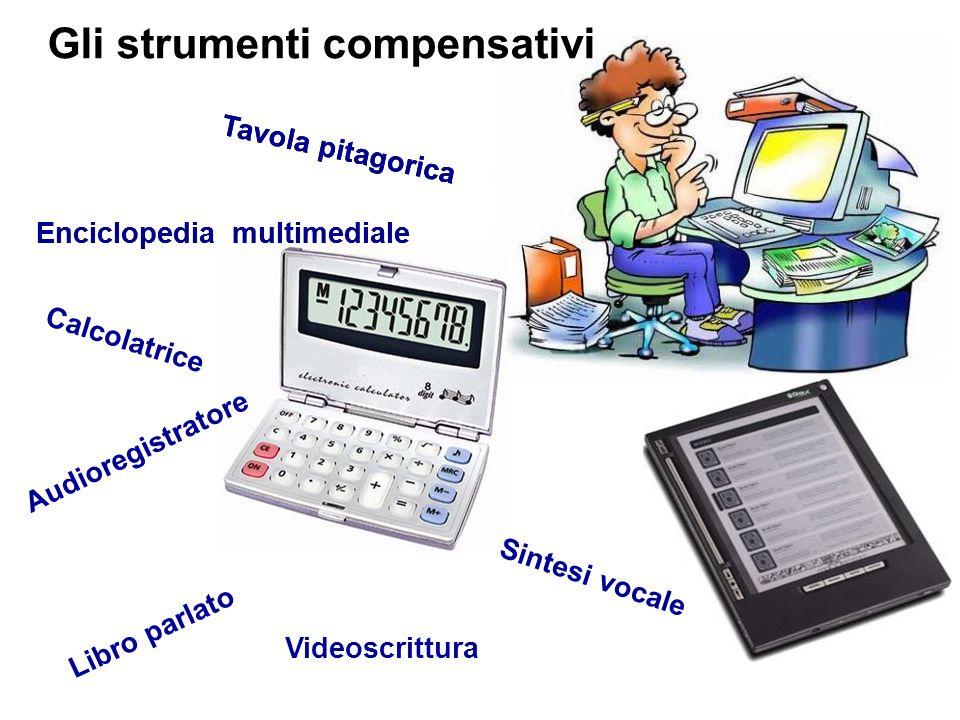 Gli strumenti compensativi Videoscrittura Tavola pitagorica Calcolatrice Audioregistratore Enciclopediamultimediale Libro parlato Sintesi vocale Tavol