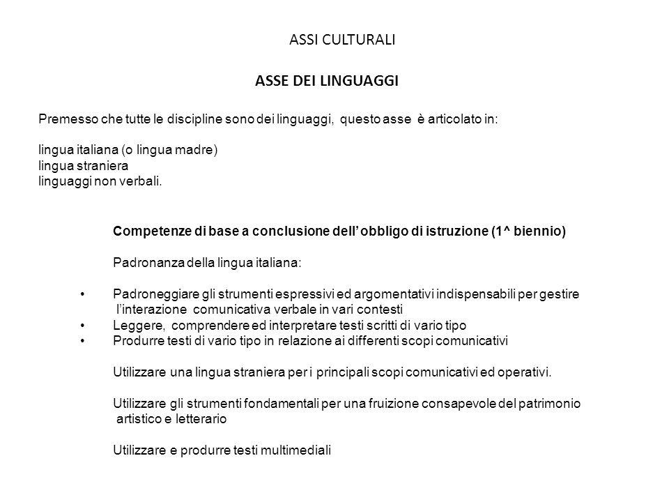 ASSI CULTURALI ASSE DEI LINGUAGGI Premesso che tutte le discipline sono dei linguaggi, questo asse è articolato in: lingua italiana (o lingua madre) l