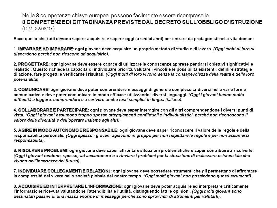 Nelle 8 competenze chiave europee possono facilmente essere ricomprese le 8 COMPETENZE DI CITTADINANZA PREVISTE DAL DECRETO SULLOBBLIGO DISTRUZIONE (