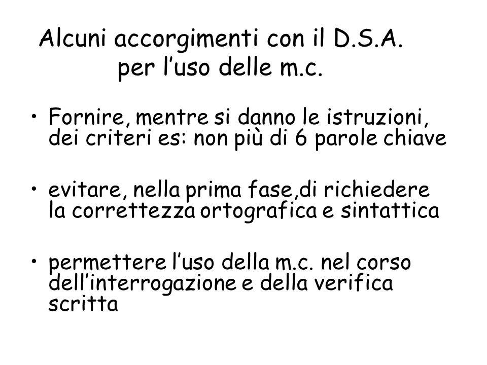 Alcuni accorgimenti con il D.S.A. per luso delle m.c. Fornire, mentre si danno le istruzioni, dei criteri es: non più di 6 parole chiave evitare, nell