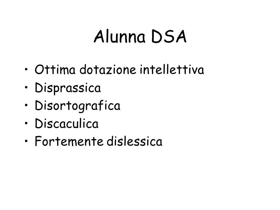 Alunna DSA Ottima dotazione intellettiva Disprassica Disortografica Discaculica Fortemente dislessica
