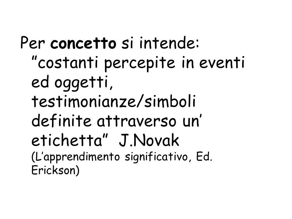 Per concetto si intende: costanti percepite in eventi ed oggetti, testimonianze/simboli definite attraverso un etichetta J.Novak (Lapprendimento signi