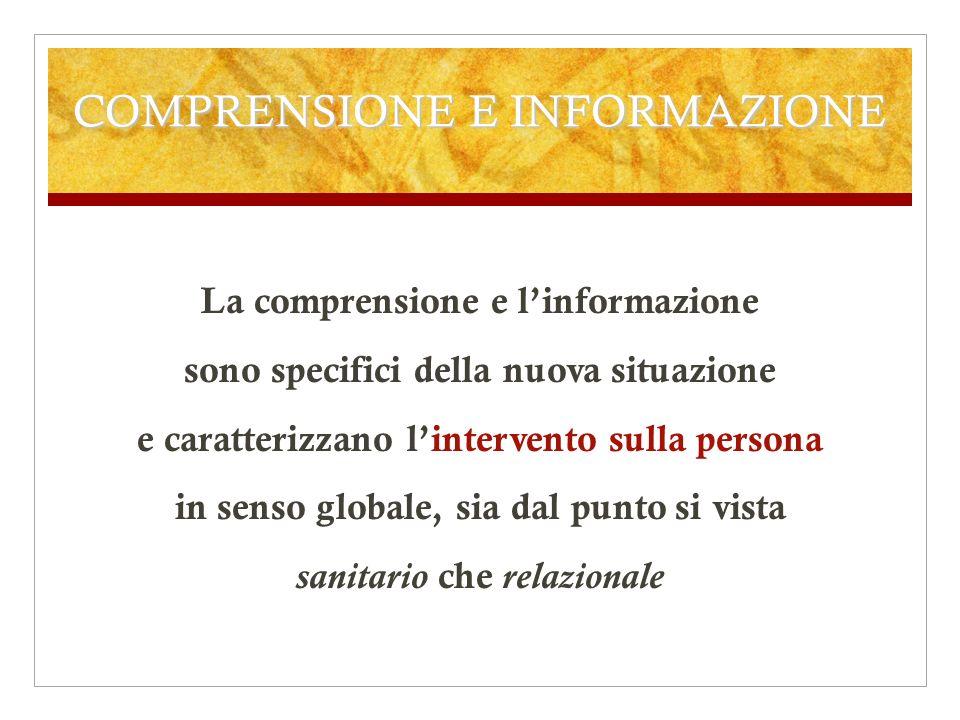 COMPRENSIONE E INFORMAZIONE La comprensione e linformazione sono specifici della nuova situazione e caratterizzano lintervento sulla persona in senso