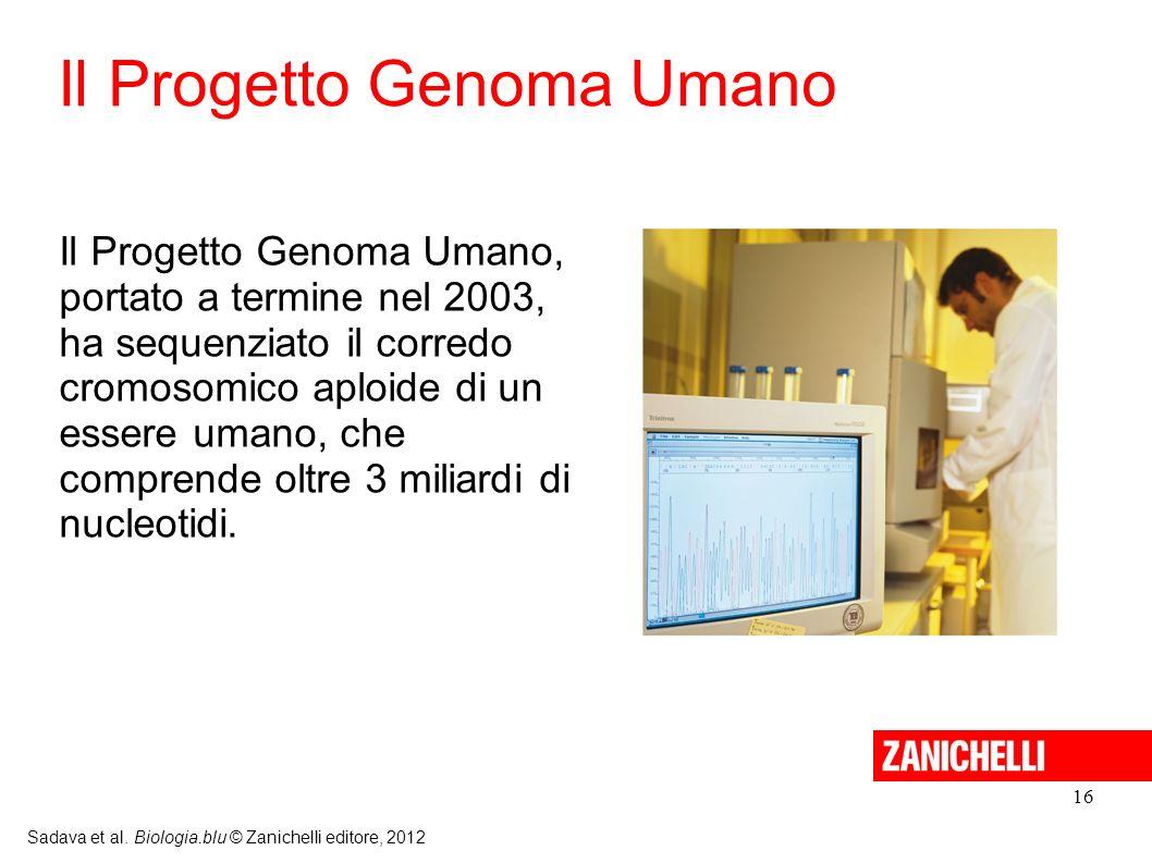 16 Sadava et al. Biologia.blu © Zanichelli editore, 2012 Il Progetto Genoma Umano, portato a termine nel 2003, ha sequenziato il corredo cromosomico a