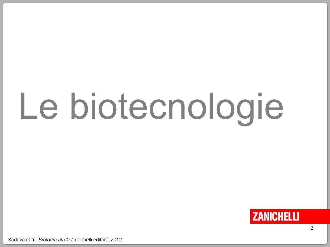 Le biotecnologie Sadava et al. Biologia.blu © Zanichelli editore, 2012 2