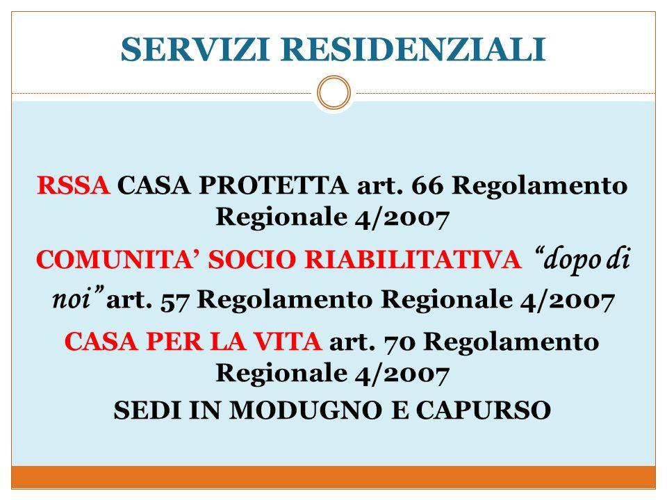 SERVIZI RESIDENZIALI RSSA CASA PROTETTA art. 66 Regolamento Regionale 4/2007 COMUNITA SOCIO RIABILITATIVA dopo di noi art. 57 Regolamento Regionale 4/