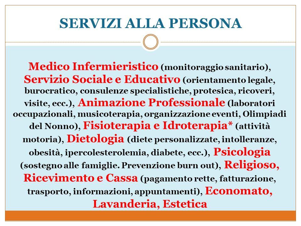 SERVIZI ALLA PERSONA Medico Infermieristico (monitoraggio sanitario), Servizio Sociale e Educativo (orientamento legale, burocratico, consulenze speci