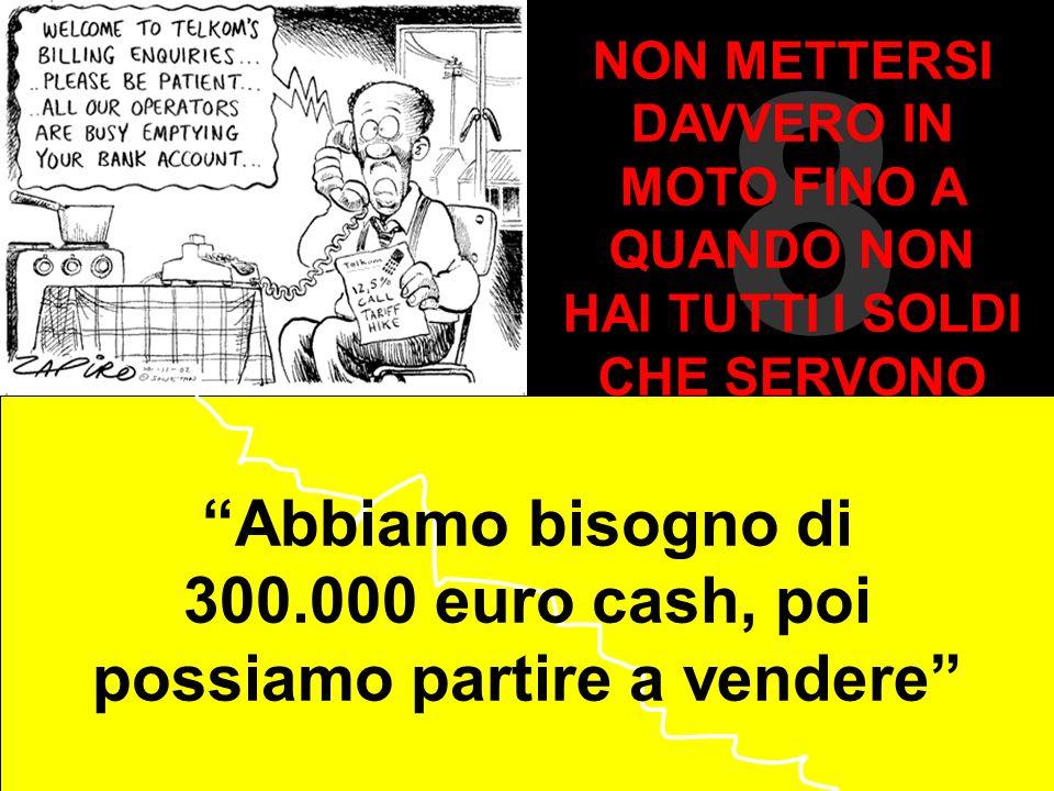 8 Abbiamo bisogno di 300.000 euro cash, poi possiamo partire a vendere NON METTERSI DAVVERO IN MOTO FINO A QUANDO NON HAI TUTTI I SOLDI CHE SERVONO