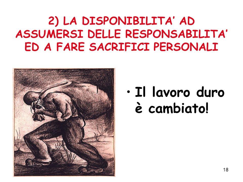 18 2) LA DISPONIBILITA AD ASSUMERSI DELLE RESPONSABILITA ED A FARE SACRIFICI PERSONALI Il lavoro duro è cambiato!