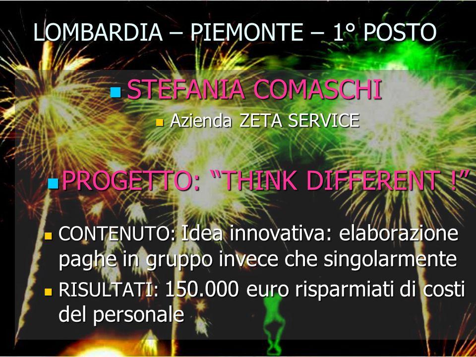 LOMBARDIA – PIEMONTE – 1° POSTO STEFANIA COMASCHI STEFANIA COMASCHI Azienda ZETA SERVICE Azienda ZETA SERVICE PROGETTO: THINK DIFFERENT ! PROGETTO: TH