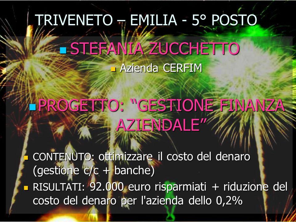 TRIVENETO – EMILIA - 5° POSTO STEFANIA ZUCCHETTO STEFANIA ZUCCHETTO Azienda CERFIM Azienda CERFIM PROGETTO: GESTIONE FINANZA AZIENDALE PROGETTO: GESTI
