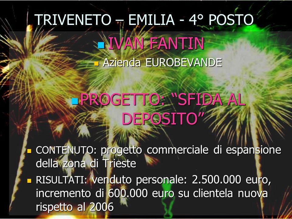 TRIVENETO – EMILIA - 4° POSTO IVAN FANTIN IVAN FANTIN Azienda EUROBEVANDE Azienda EUROBEVANDE PROGETTO: SFIDA AL DEPOSITO PROGETTO: SFIDA AL DEPOSITO