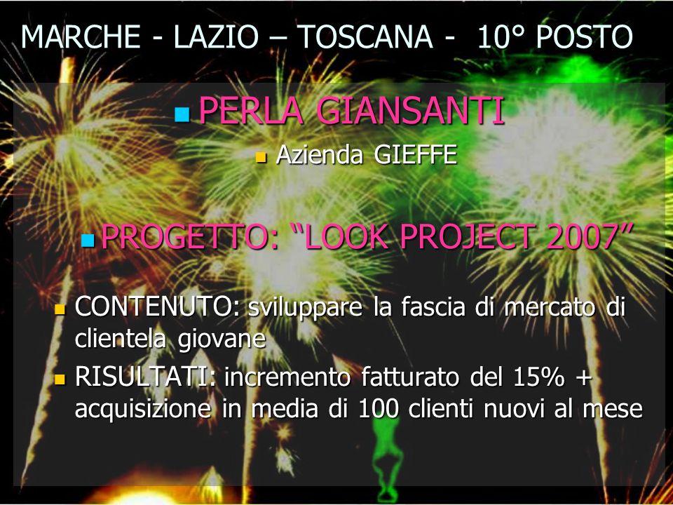 MARCHE - LAZIO – TOSCANA - 10° POSTO PERLA GIANSANTI PERLA GIANSANTI Azienda GIEFFE Azienda GIEFFE PROGETTO: LOOK PROJECT 2007 PROGETTO: LOOK PROJECT