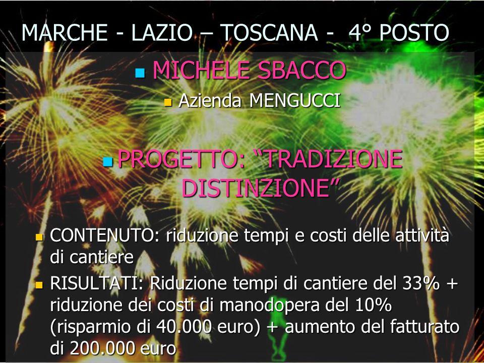 MARCHE - LAZIO – TOSCANA - 4° POSTO MICHELE SBACCO MICHELE SBACCO Azienda MENGUCCI Azienda MENGUCCI PROGETTO: TRADIZIONE DISTINZIONE PROGETTO: TRADIZI